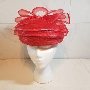 Vintage Red Wicker Women's Hat